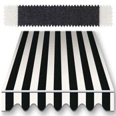 Recacril Classic Stripes Black/White 47 inch R-017 Awning and Marine Fabric